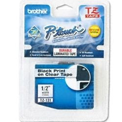 Brother TZE-131 12mm Black on Clear TZE Tape - GENUINE