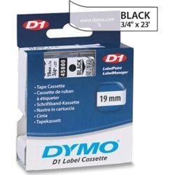Dymo SD45800 45800 D1 Label Cassette 19mm x 7m - Black/Clear