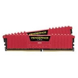 Corsair DDR4, 2400MHz 8GB 2 x 288 DIMM, Unbuffered, 14-16-16-31, Vengeance LPX Red Heat spreader, 1.20V, XMP 2.0, Supports 6th Intel? CoreT i5/i7