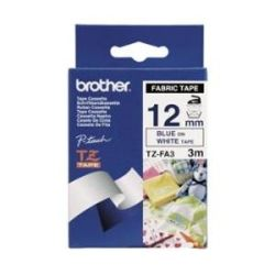 Brother 12mm Blue on White Fabric TZE Tape