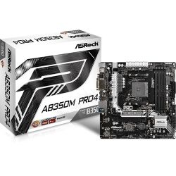 ASRock AB350 Pro4, AM4, A-Series / Ryzen Series, AMD Chipset, 64GB, Dual Channel, ATX Form Factor, 12.0 x 8.8, 24 Power Pin