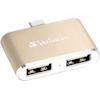 USB Hubs - Verbatim USB-C 3.1 Dual Port USB Hub Gold | MegaBuy Computer Parts